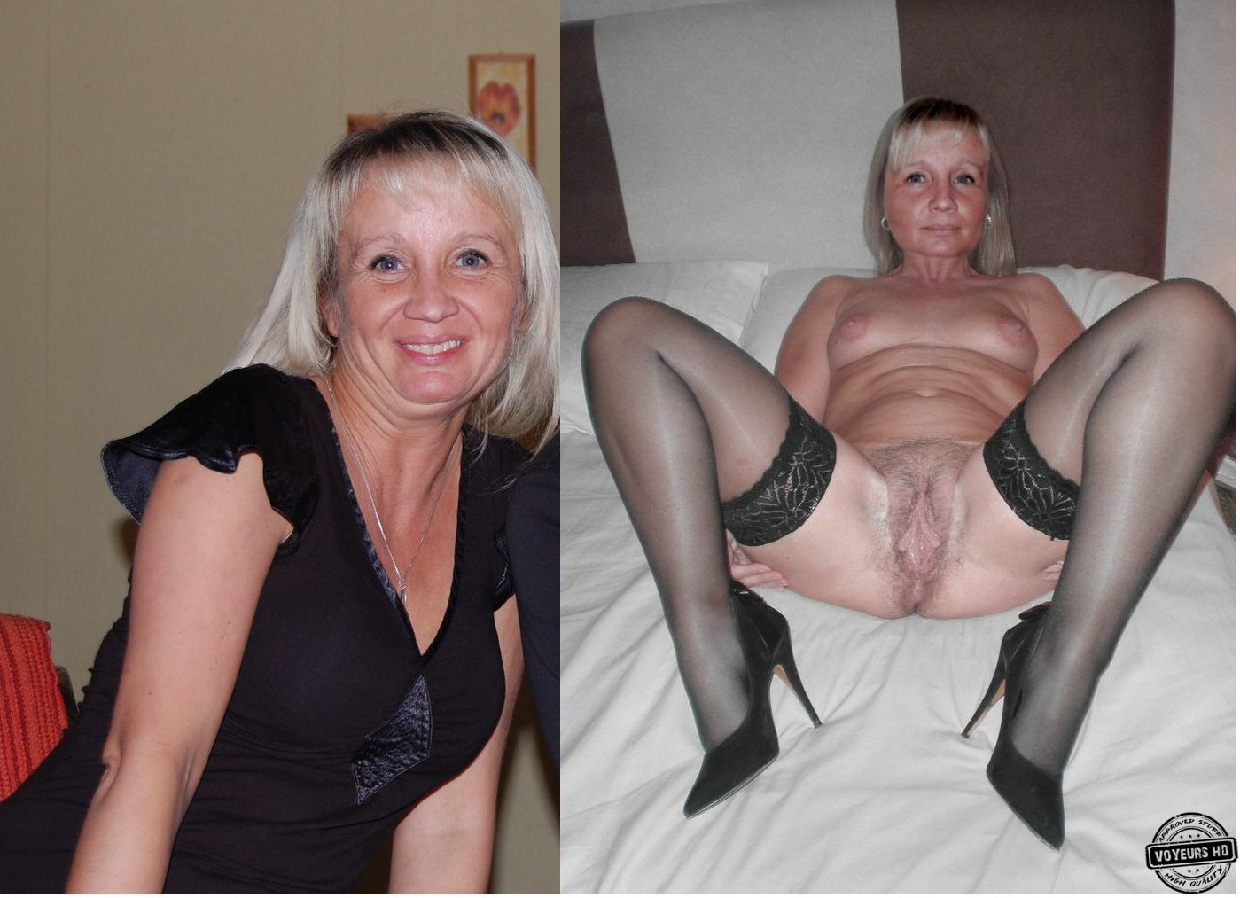 Dressed mature undressed granny