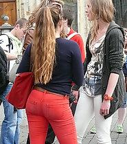 Hot teen ass in red pants