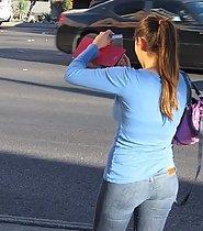 Latina jeans ass on the street