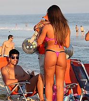 Sexy girl in pink thong bikini