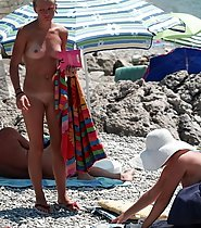 Mom and Daughter Nude on Beach