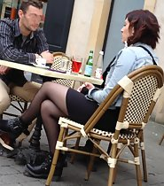 Sexy legs on the cafe