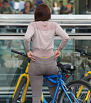 Hot milf caught on bike