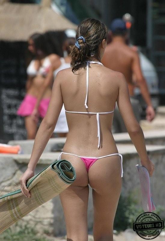 Busty pink bikini