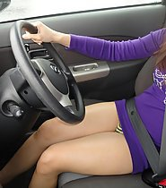 Hottie Flashing in Car