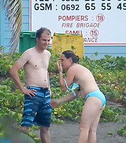 Beach exhibitionism mom