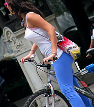 Sexy biker with blue leggins