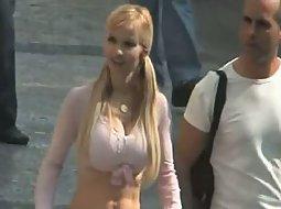 Happy girl with big boobs