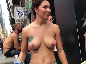 Perfect tattooed boobs with nipple piercings