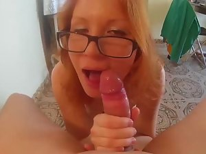 Horny girl pleases her man