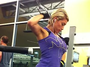 Tough and fit milf caught by gym voyeur