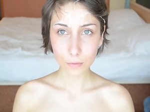 Sex with tense girl and cum on her eyebrows