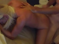 Friend fucks a blonde slut