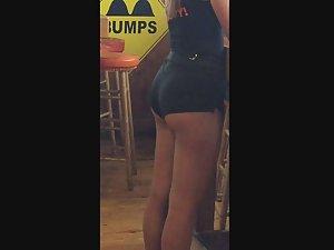 Waitress in sexy booty shorts