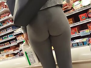 Tights squeeze her ass cheeks in the right way