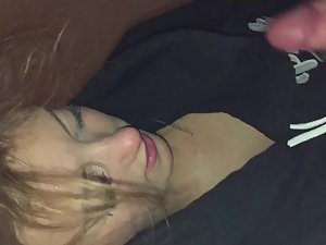 Gorgeous girl with beautiful eyes gives blowjob
