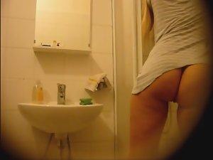 Step sister spied in bathroom