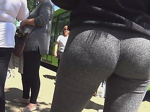 Amazing young ass in grey tights