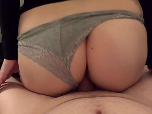 Redhead pulls thong to the side during good fuck