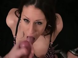 Pretty brunette gets a load of cum