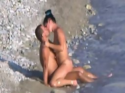 Frisky nudist fuck in front of others