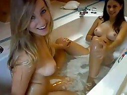 Hot lesbians in a bath tub