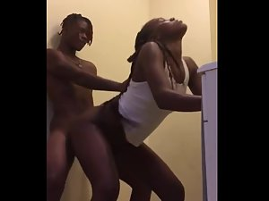 Black teens fuck hard in the bathroom