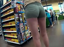 Tight shorts on a tall leggy woman