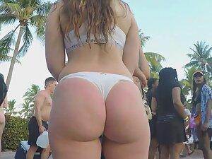 Bikini got lost in phat white booty crack