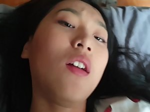 Adorable asian girl fucked in her tight hairy pussy