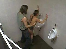 He fucked her in the men's toilet