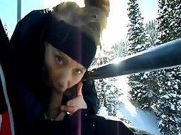 Blowjob on a ski lift