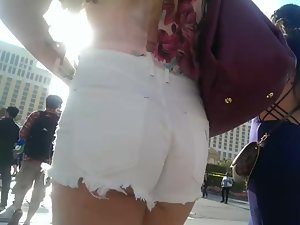 Thick brown ass in white shorts