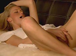 Pretty blonde masturbating