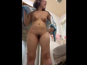 Asian girl's big nipples and trimmed pubes after shower