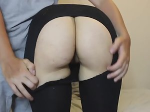 Tearing up pantyhose for great sex
