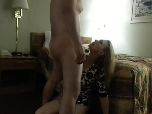 Blonde loves to kneel and suck a dick