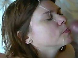 Mature lady gets a big facial
