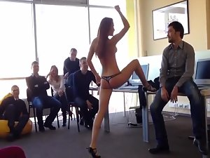 Team building with hot stripper in office