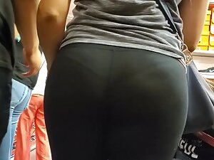 Milf's big butt and thong in transparent tights