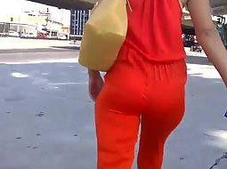 Hot milf in sexy red overalls