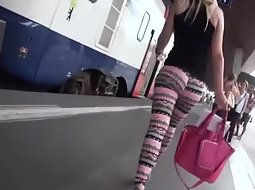 Following a girl on the train station
