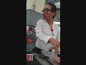 Sexy cashier lady in local supermarket