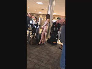 Stalking a diva in sexy dress at the airport