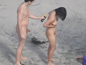 Nudist wife causes a boner of her husband