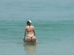 HD Beach thong whole ass
