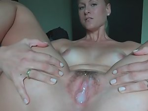 Hot woman proud of sperm in her pussy