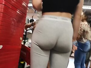 Waiting behind fit bubble butt in supermarket