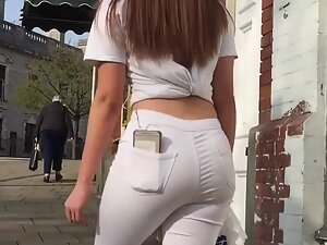 Her thick ass in white pants gets attention