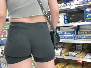 Tight ass cheeks with a wedgie in shorts